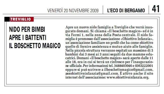 Eco di Bergamo - 20 Novembre 2009